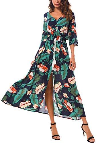 KorMei Damen Blumen Maxikleid Bohemien 3/4 Arm A-Linie Lang Kleider Sommerkleid Partykleid Grün XL