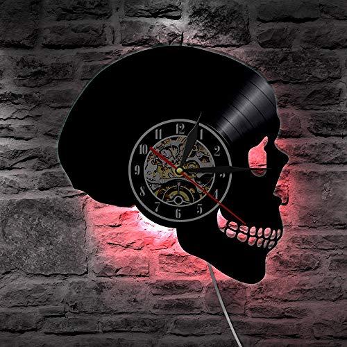 PPOCEK Vinyl Uhr LedHandgeschnitzte Sugar Skull Vinyl Record Led Wanduhr Hippie Schädel Wanduhr Tag Der Toten Home Decor - Hippie Vintage Tote