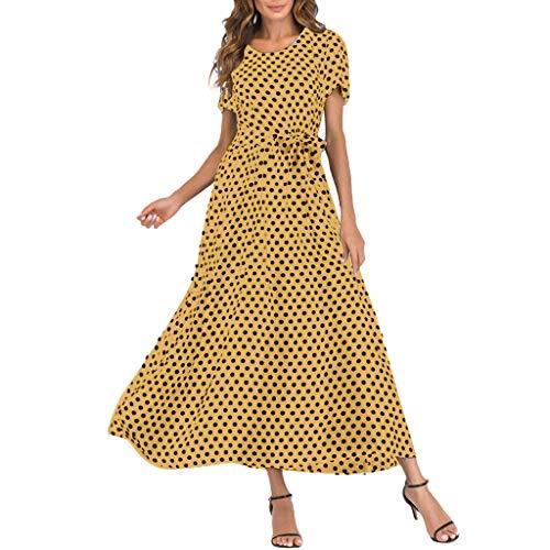 Whycat-Women Sommerkleidverkäufe, WhycatFrauen-Tupfen-Kurzschluss-Hülsen-Kleider lösen Schwingen-beiläufiges Strandkleid-Verband-langes Maxi Kleid