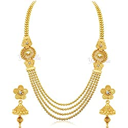 Youbella Alloy Metal Gold Traditional Necklace Jewellery Set With Earrings For Girls/Women