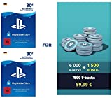 PSN Guthaben für Fortnite - 6.000 V-Bucks + 1.500 extra V-Bucks - 7.500 V-Bucks DLC | PS4 Download Code - deutsches Konto