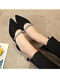 GAOLIM Zapatillas Zapatos De Mujer Primavera Y Verano Mujer Zapatos De Tacón, Punta Negra Solo Agua Zapata Drilling...