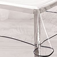 Ligne Décor Nappe cristal rectangle 140 x 240 cm PVC uni Garden/biais anthracite