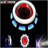 Allextreme Projector Lamp High Intensity Led Headlight Dual Ring Cob Led Inside Double Angel's Eye Ring (Blue & White) Lens Projector