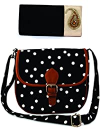Kleio Combo Of Ethnic Velvet Sling Broach Clutch & Polka Dots Canvas Sling Bag