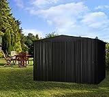 Globel Industries Metall Garten Gerätehaus Gartenhaus 10x8 Anthrazit inkl. Fenster und Sonneneinlass//295x237x203 cm (BxTxH)//7m²//Gerätehaus Metall Satteldach