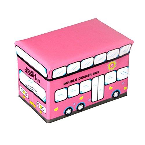 TOPBATHY Faltbare Lagerplätze mit Deckel Rot Schulbus Muster PU Aufbewahrungsbox Korb Container Veranstalter Bank für Haus Schlafzimmer Kleidung Spielzeug Schrank (Veranstalter Spielzeug Lagerplätze)