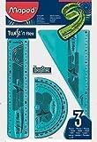 1 x Bleu Maped Twist'n Flex Lot de géométrie avec rapporteur, Règle, équerre
