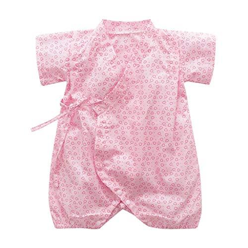 Jungen Kurzarm Floral Drucken Kimono Unisex Strampler Overall Kleidung Strampler (Rosa,80-90cm) ()