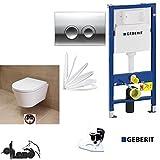Geberit Duofix Vorwandelement, City Design Tiefspül WC Komplettset + Deckel Absenkautomatik, Schallschutz, Drückerplatte chrom
