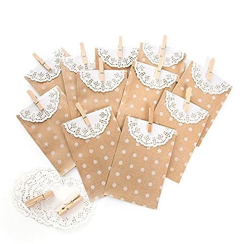 40 weiß gepunktete braun beige Papier-Geschenk-Tüten-Beutel Tischkarten Gastgeschenke (9,5 x 14 + 2 cm Lasche) + Deko-Spitze und kleinen Holz-Klammern; Mitgebsel, give away Hochzeit, Kommunion, Taufe, ... vintage
