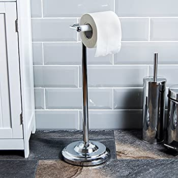 winsome design stand up toilet paper holder. Home Discount  Toilet Roll Holder Floor Standing Chrome Finish Sabichi Free Amazon co uk DIY Tools