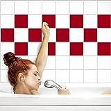 Fliesenaufkleber für Küche und Bad | Fliesenfolie für 15x20cm Fliesen | einfarbig rot matt | 32 Stück | Klebefliesen günstig in 1A Qualität von PrintYourHome