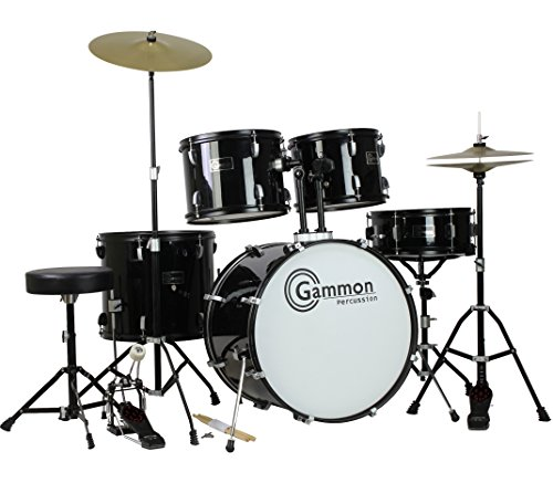 gammon-full-size-adult-5-piece-drum-set-with-cymbals-black