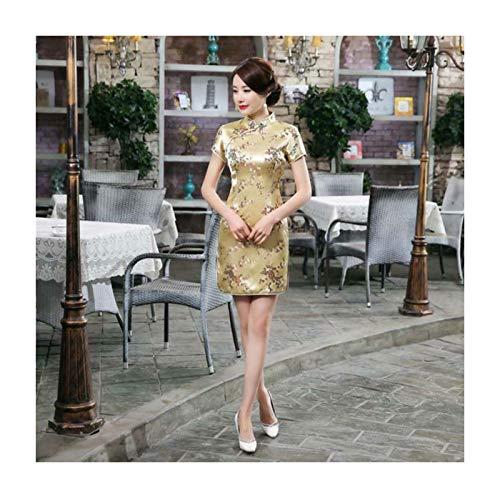 PLOPYSE& Women Traditional Dress Cheongsam Mini Sexy Qipao Flower Wedding Dress Plum Blossom-Gold L