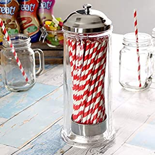 bar@drinkstuff Glass Straw Dispenser Drinking Straw Dispenser, Retro Straw Dispenser, Straw Holder, Straw Container, Vintage Straw Dispenser