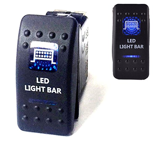 Light Bar-schalter (Qiorange DC 12V 24V Auto KFZ Blau LED Lichtleiste Beleuchtet Wippenschalter Kippschalter Auto-Armaturenbrett Schalter Bar Light (Blau LED LIGHT BAR))