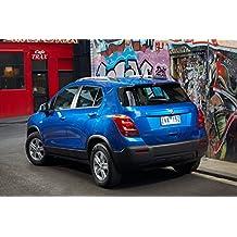 """Classique et muscle car ADS et Art de voiture Holden Trax LS (2013) voiture Art Poster imprimé sur papier d'archives en satin Bleu 10mm Face arrière statique de Vue, Papier, Blue Rear Side Static View, 36"""" x 24"""""""