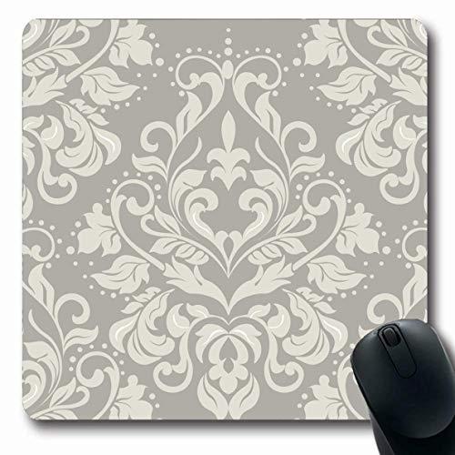 Luancrop Mousepads Verziertes Barock-Blumendamast-Muster-Weinlese-Vignetten-italienisches französisches Grenzwand-antikes Entwurfs-Kunst-rutschfeste Spiel-Mausunterlage-Gummilangmatte Italienischen Barock-kunst