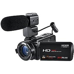 FHD Videocámara ORDRO WiFi 24 MP Cámara de Video con Micrófono Externo (HDV-Z20)