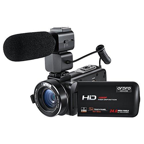 ORDRO Professionell 1080P 30FPS Full HD Wifi Digital Videokamera mit Externem Mikrofon 3.0 Zoll Rotation Touchscreen Camcorder Fernbedienung (Schwarz, HDV-Z20)