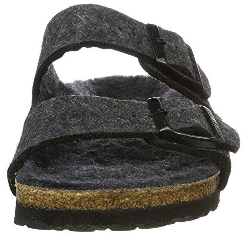 Birkenstock Arizona, Sandales mixte adulte Noir (Anthracite Happy Lamb Black)