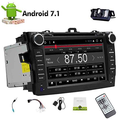 Android 7.1 Octa-Core Doppel-DIN-Kapazitive GPS Navigation VCD USB SD-DVD-Spieler für Toyata Corolla (2007-2013) Bluetooth Monitor 2 Din im Schlag-Radio Receiver Autoradio Headunit Video Audio Auto Stere 8 Core + Gratis Geschenk: Rückfahrkamera