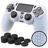 Pandaren TACHONADO de silicona Fundas protectores de piel antideslizante para el PS4 Mando x 1 (blanco claro) + FPS PRO thumb grip x 8