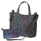 Gupiar Damen Handtasche Frauen Umhängetasche Clutch Abendtasche Geometrische Ling Grid Leuchtende Farbwechsel Kreuz Körper Tasche (Leuchtende Large + Brieftasche)