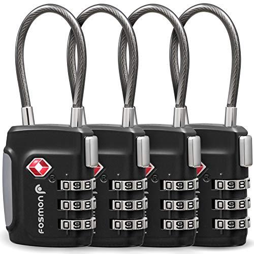 Fosmon Premium TSA Kabelschloss/Zahlenschloss/Vorhängeschloss/Reiseschloss/Gepäckschloss[4er Set|3 stellige Zahlencode][Rostfrei|Zink Legierung] Gepäck/Koffer USA - Schwarz -