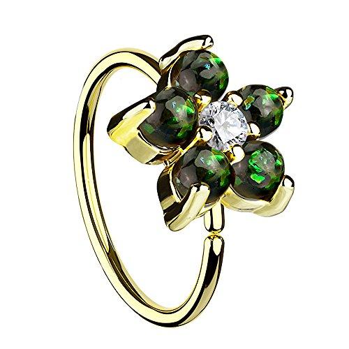 Piersando Universal Piercing Ring für Septum Tragus Helix Ohr Nase Lippe Brust Intim Horseshoe Hufeisen mit Opal Blumen Blüte Gold Dunkelgrün