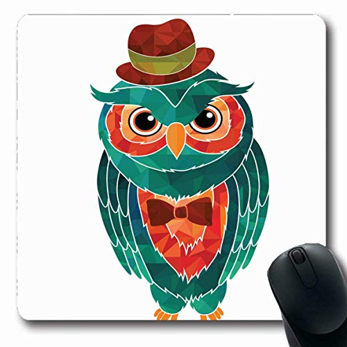 Luancrop Mousepads für Computer Stripe Owl Gentleman Gelb Detail Vogel Bogen Kinder Zirkus Design Krawatte rutschfeste Gaming Mauspad