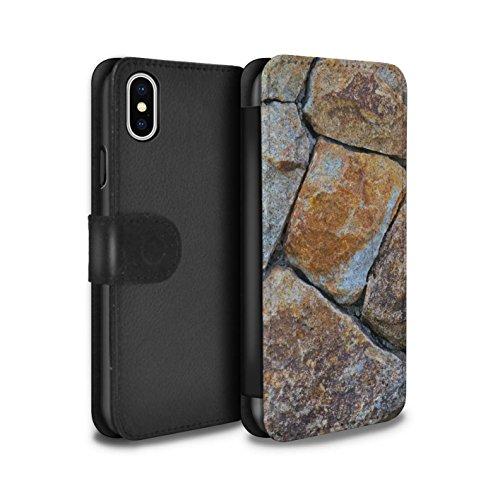 Stuff4 Coque/Etui/Housse Cuir PU Case/Cover pour Apple iPhone X/10 / Pack 15pcs Design / Pierre/Rock Collection Moyen Mur de Pierre