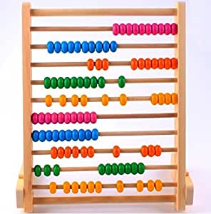 10 Grades Wooden Abacus Counting Calculation Frame with Colorful Beads - Educational Toy for Kids Children