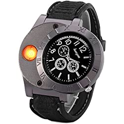 UK A2Z ® HUAYUE Black Dial face with LED USB Rechargeable Wrist Watch Cigarette Windproof Lighter