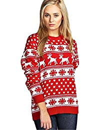 New Unisex Ladies Men Kids Christmas Jumper Reindeer Snowflakes Knitted Xmas Long Sweater Top