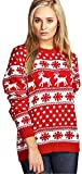 Verrückte Mädchen-Frauen-Weihnachtspuder-Ren-Schneeflocken strickte Weihnachten-lange Strickjacke-Oberseite (S/M-EU36/38, Rot)