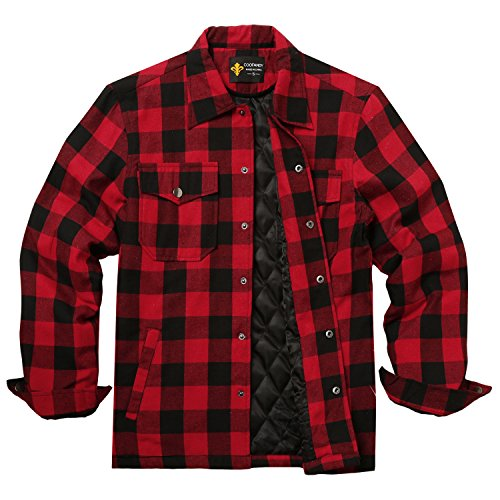 BURLADY Hemd Herren Kariert Innenfutter Winter Holzfällerhemd Thermohemd Hemdjacke Winterjacke Mantel Rot XL