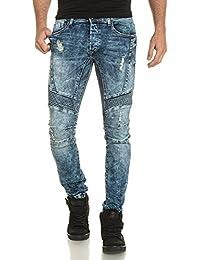 Gov Denim - Jeans bleu biker délavé et troué