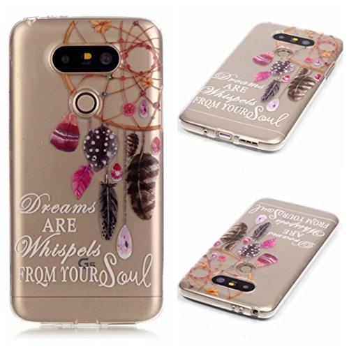 Preisvergleich Produktbild KSHOP Case Cover TPU Silikon Hülle für LG G5 Taschen Schale Schutzhülle Etui dünn kratzfeste stoßdämpfende - Indien Campanula Feder