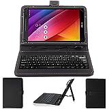 NAUC Tastatur Tasche für ASUS ZenPad 8.0 Z380M Keyboard USB Hülle QWERTZ Cover