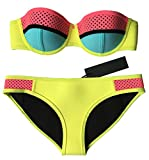 MUXILOVE Damen Farbe Hohl Bademode Neopren Badeanzug Neoprene Push Up Bikini Set Gelb Small