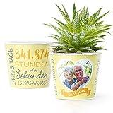 39. Hochzeitstag Geschenk – Blumentopf (ø16cm) | Geschenkidee zur Sonnenhochzeit für Mann oder Frau mit Herz Bilderrahmen für 1 Foto (10x15cm) | Glücklich Verheiratet - 39 Jahre