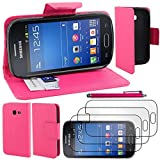 ebestStar - Compatible Coque Samsung Galaxy Trend Lite S7390 S7392 Etui PU Cuir Housse Portefeuille Porte-Cartes Support Stand + Stylet + 3 Films d'écran, Rose [Appareil: 121.5 x 63.1 x 10.9mm, 4.0']