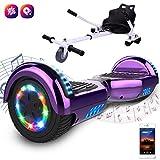 GeekMe Gyropode 6.5 Pouce avec hoverkart Scooter électrique Auto-équilibré UL2272 Certifié Bluetooth Intégré Moteur 700W pour Enfants et Adultes