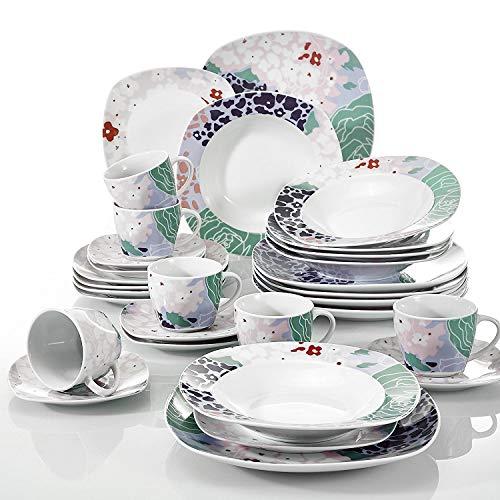 Veweet OLINA 30pcs Service de Table Porcelaine 6pcs Assiette Plate/Assiette à Dessert/Assiette Creuse/Tasse avec Soucoupes pour 6 Personnes Vaisselles Céramique Design Fleuri Moderne