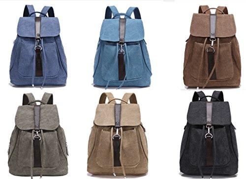 Minetom Damen Schulrucksack Dame Stil Einfarbig Schulranzen Schultasche Rucksack Freizeitrucksack Daypacks Backpack Armeegrün