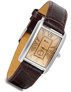 lancardo Retro Vintage Silber Ton Fall Krokodil Muster Braun Leder Damen-Armbanduhr Couple quadratisch (Frauen)