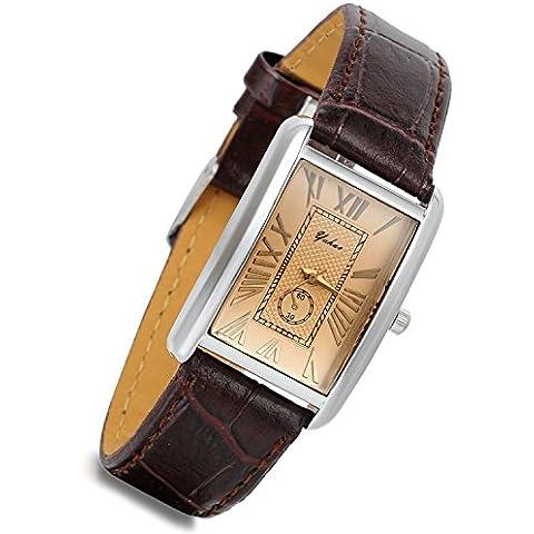 Lancardo Orologio cinturino in pelle marrone con quadrante numeri romani per donna/couple/Lovers, caso quadrata in argento