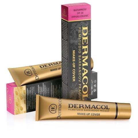 Dermacol Make-up Cover – stark deckende, wasserfeste Foundation mit LSF 30, Mittleres Beige-Gelb 218, 30 g